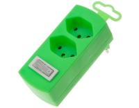 Abzweigstecker 2-fach, fluo-grün