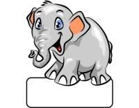 Geburtstafel Elefant grau