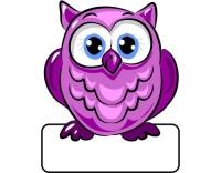 Geburtstafel Eule violett