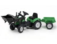 Tret-Traktor mit Anhänger, Schaufel grün