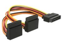 SATA zu 2x SATA Stromadapter, 90° gewinkelt